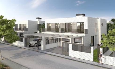 Exterior 3D viviendas pareadas:  de estilo  de Icaras 3D