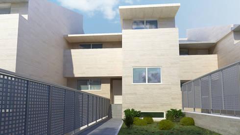 Fachada 3D vivienda:  de estilo  de Icaras 3D