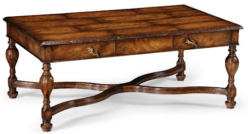 Jonathan Charles Rustic Walnut Coffee Table: rustic Living room by Pavilion Broadway