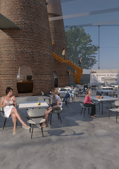Cafe seating, glazing extension to kilns:   by Interior Design Graduate