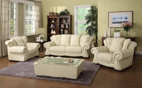 Cream White  Leather Sofa: modern Living room by Locus Habitat