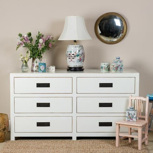 White Lacquer Chest of Six Drawers : asian Bedroom by Orchid