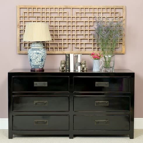 Black Lacquer Chest of Six Drawers : asian Bedroom by Orchid