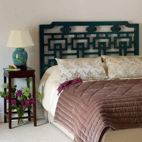 Teal Lacquer Oriental Wooden Fretwork Headboard (Kingsize): asian Living room by Orchid