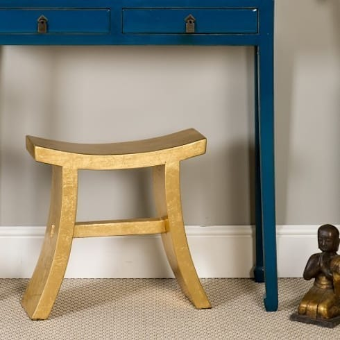 Gold Leaf Lacquer Character Stool: asian Living room by Orchid
