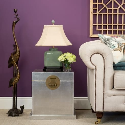 Silver Leaf Cube Trunk with Brass Hardware Traditional Chinese Lock: asian Living room by Orchid