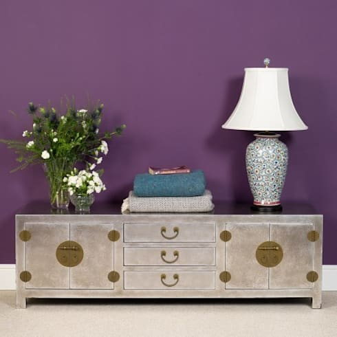 Silver Leaf Low Cabinet for TV or Media Storage.: asian Living room by Orchid