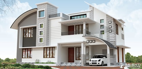 Exterior Elevation Designs:   by SRISHTI ENGINEERS