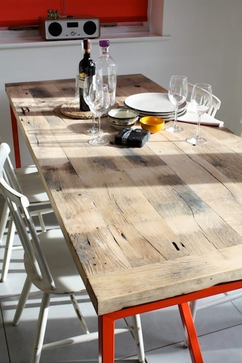Kanteen Dining Table in Reclaimed French Oak: industrial Dining room by Salvation Furniture
