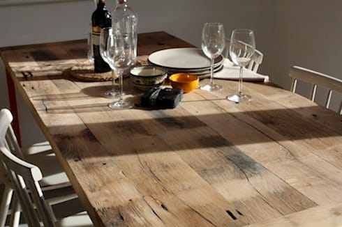 Reclaimed French oak table top: industrial Dining room by Salvation Furniture