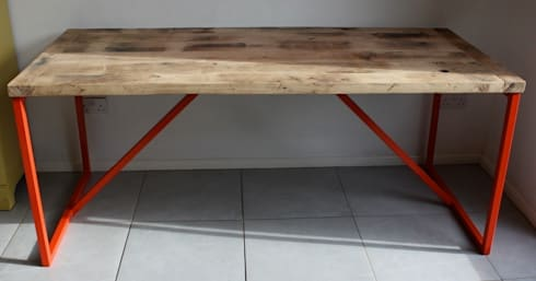 Salvation Furniture's Kanteen Table in French Oak: industrial Dining room by Salvation Furniture