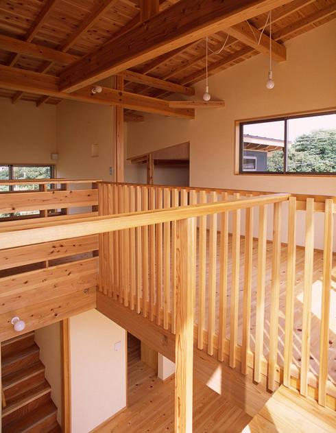 居間吹抜け: 八島建築設計室が手掛けたリビングです。
