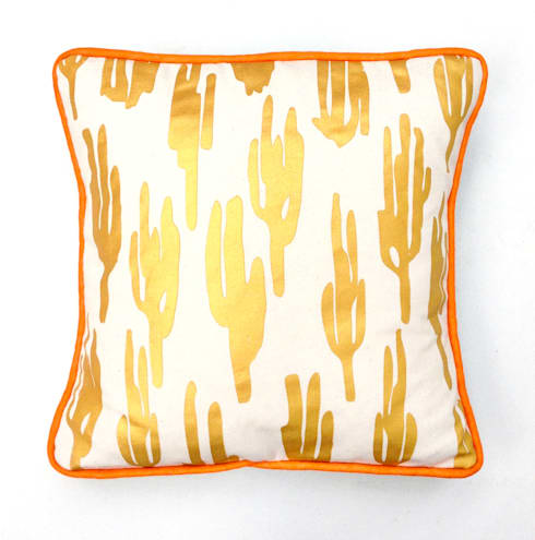 Zoe Murphy- Mexico to Margate- Cactus cushion gold: eclectic Living room by Zoe Murphy