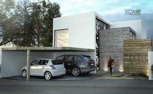 FACHADA PRINCIPAL: Casas de estilo moderno por Xome Arquitectos