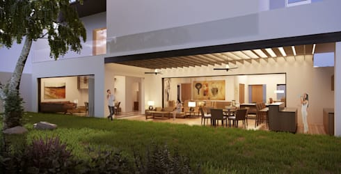 Terraza Social:  de estilo  por Eugenio Adame Arquitectos