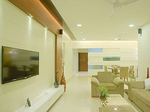 s k designs - contemporary residence in Andheri: modern Living room by S K Designs
