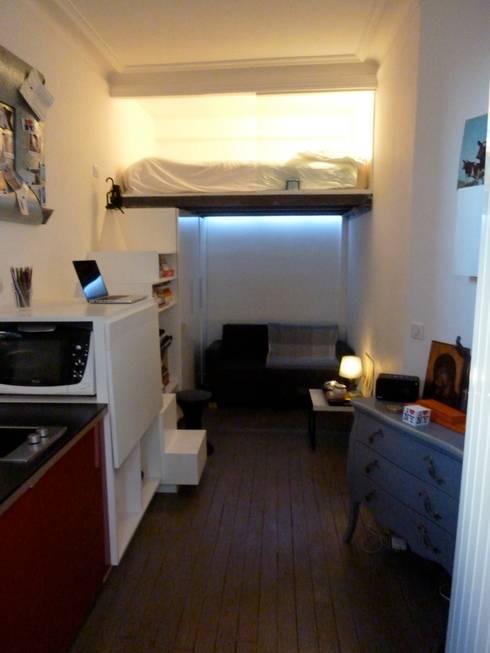 Studio de 14 m2 à Montmartre: Chambre de style  par Antinomik design