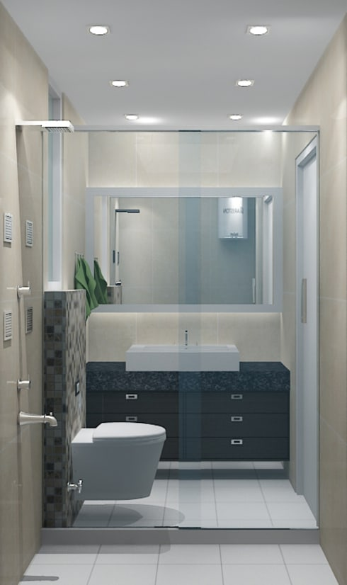 Toilet 1:   by Universal Pride Interiors Pvt. Ltd.