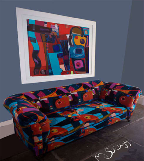 Turquiose Party fabric with Michelle Scragg Painting:  Artwork by Michelle Scragg