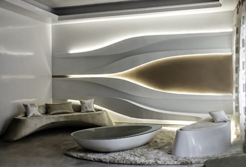 Undulating Living:  Living room by Studio Symbiosis