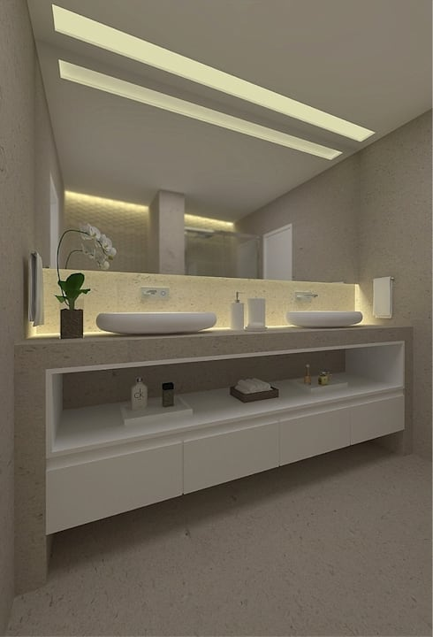 Beach Flat : modern Bathroom by Robson Martins Interior Design