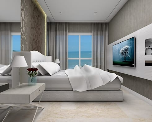 Beach Flat : modern Bedroom by Robson Martins Interior Design