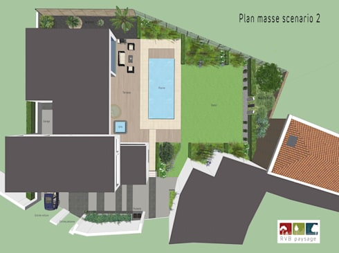 Am nagement d 39 un jardin contemporain de 800m2 by rvb paysage homify for Amenagement jardin contemporain