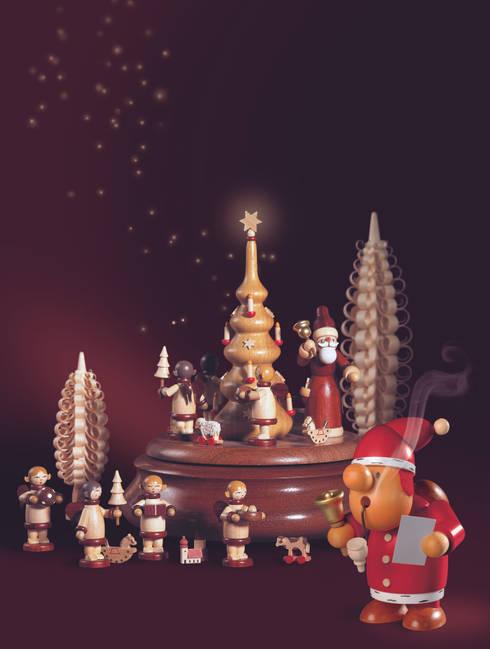 Weihnachtsvorfreude mit Erzgebirgischer Holzkunst:  Wohnzimmer von Kleinkunst aus dem Erzgebirge® Mueller GmbH
