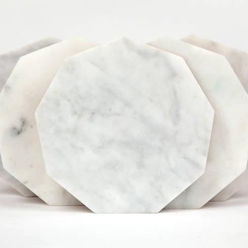 White Hexagon Marble Fort Standard Trivet:  Household by Fate London