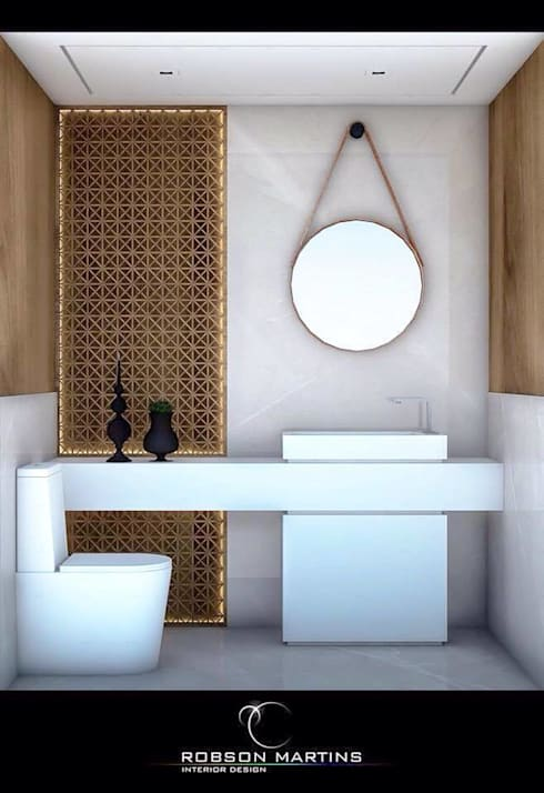 Washroom:  Bathroom by Robson Martins Interior Design