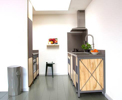 Constructieve keuken: industriële Keuken door Studio Mieke Meijer