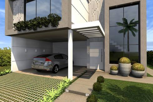 Detalhe da Fachada: Casas modernas por Konverto Interiores + Arquitetura