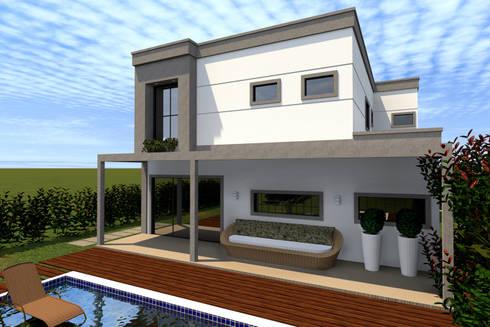 Fachada Posterior: Casas modernas por Konverto Interiores + Arquitetura