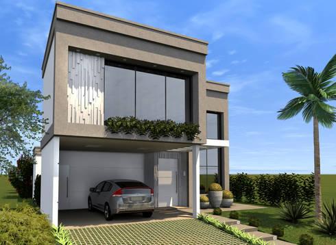 Fachada Frontal: Casas modernas por Konverto Interiores + Arquitetura