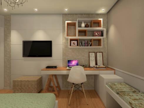 Quarto Júlia - RJ: Quartos  por Konverto Interiores + Arquitetura