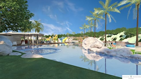 Vista de la piscina de adultos y la terraza de la cafetería: Piscinas de estilo moderno de FG ARQUITECTES