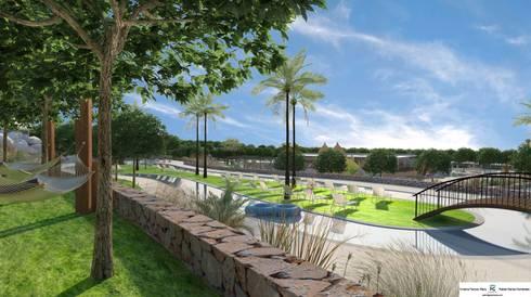 Vista del río lento: Piscinas de estilo moderno de FG ARQUITECTES