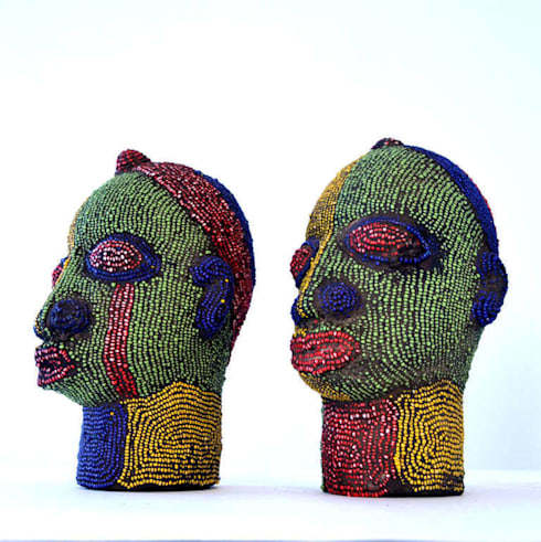 Pair of Nigerian Beaded Female Heads:   by The Moderns