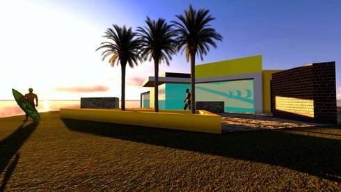 Casa vista al mar: Jardines de estilo moderno por MLarq Arquitectura y Construcciòn