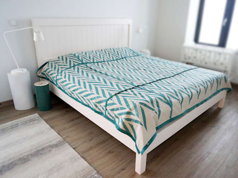 ZIGZAG printed linen bedding by Lovely Home Idea: scandinavian Bedroom by LOVELY HOME IDEA
