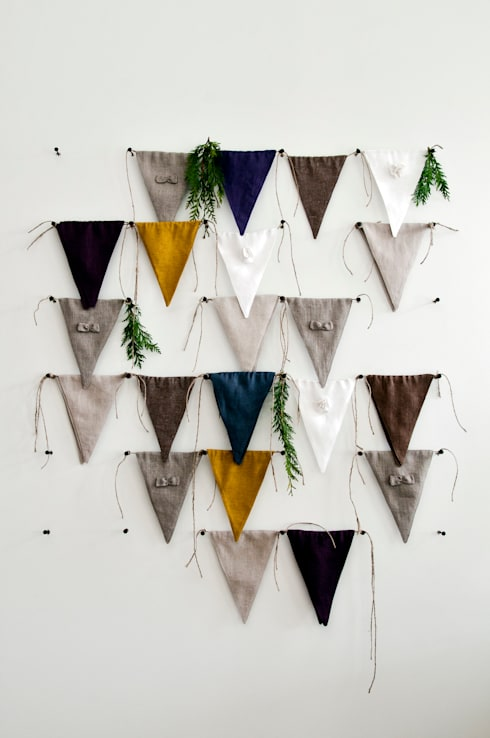 Linen fabric banner bunting by Lovely Home Idea: minimalistic Nursery/kid's room by LOVELY HOME IDEA
