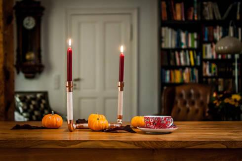 DIY Kupfer und Holz Kerzenhalter:  Household by 123 Voilà