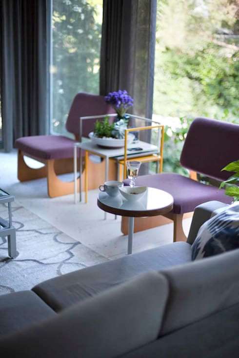 HANDE KOKSAL INTERIORS – House S - S Evi: endüstriyel tarz tarz Oturma Odası