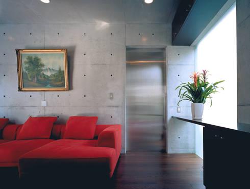 ステンレスのドア: atelier mが手掛けたリビングです。