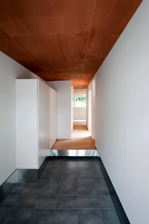 蒲郡の住宅: 諸江一紀建築設計事務所が手掛けた廊下 & 玄関です。