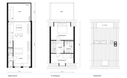 plattegronden: minimalistische Huizen door 8A Architecten