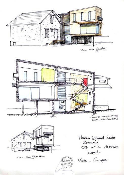 Dessin de l'esquisse initiale: Maisons de style  par Atelier d'Architecture Marc Lafagne,  architecte dplg