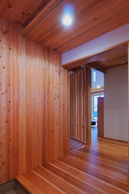 多角形の家  POLYGONAL HOUSE  TOYAMA,JAPAN: 水野建築研究所が手掛けた廊下 & 玄関です。