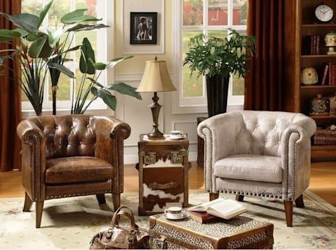 Leather Chesterfield Lounge Chair from Locus Habitat:  Living room by Locus Habitat