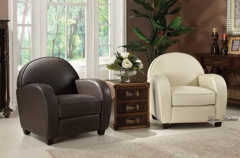 Leather Club Chair from Locus Habitat:  Living room by Locus Habitat
